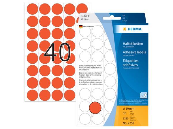Etiket Herma 2252 rond 19mm rood 1280stuks