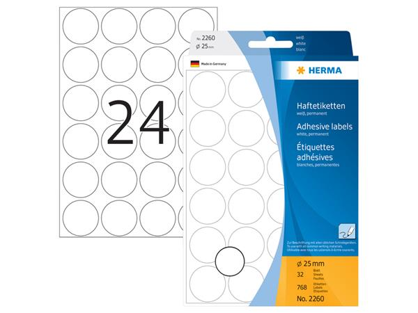 Etiket Herma 2260 rond 25mm wit 768stuks