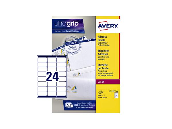 ETIKET AVERY L7159-250 63.5X33.9MM 6000ST