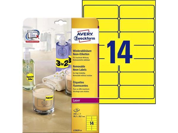 Etiket Avery L7263Y 99.1x38.1mm neon geel 350stuks