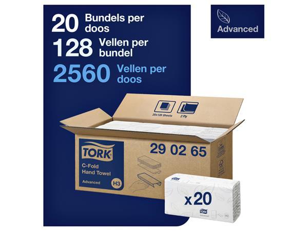 Handdoek Tork H3 290265 Advanced C 2laags 31x25cm 20x128st