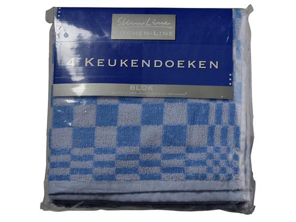 Keukendoek Felicia katoen blauw/wit 50x50cm 4 stuks