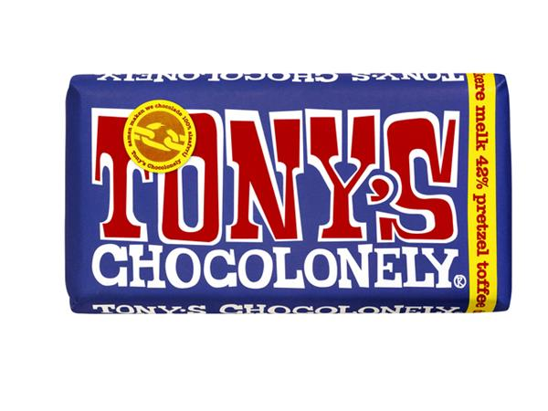 Chocolade Tony's Chocolonely reep 180gr donker melk pretzel toffee