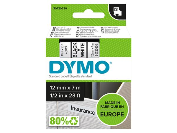 LABELTAPE DYMO 45013 12MMX7M D1 WIT/ZWART