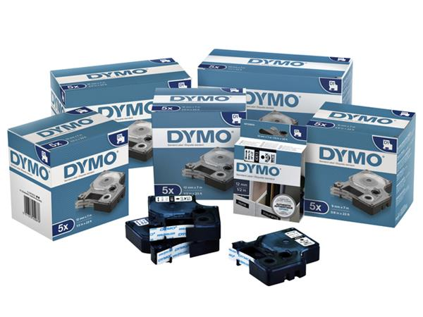 LABELTAPE DYMO 45012 12MMX7M D1 TR/ROOD
