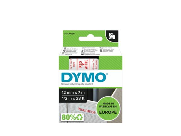 LABELTAPE DYMO 45015 12MMX7M D1 WIT/ROOD