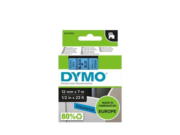 Labeltape Dymo 45016 D1 720560 12mmx7m zwart op blauw