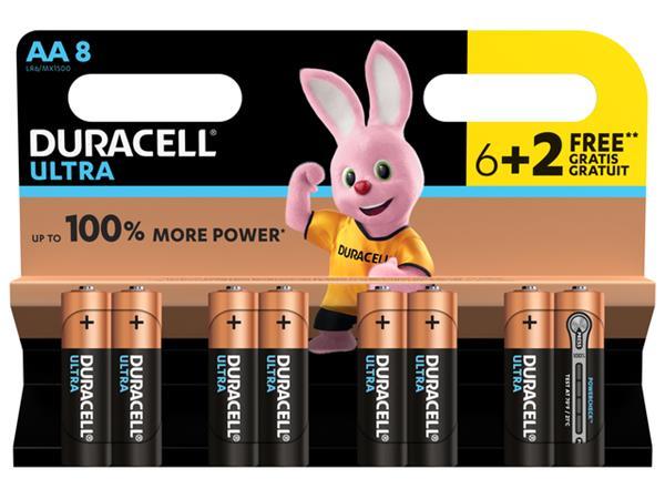 BATTERIJ+DURACELL+AA+ULTRA+POWER+ALKALINE+6%2b2+PACK