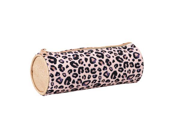 Etui Lannoo Mixed Designs leopard rond 23cm roze