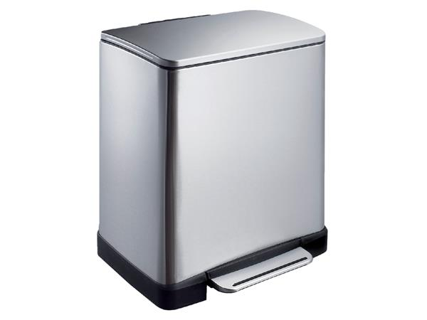 Afvalbak pedaalemmer E-Cube RVS mat rechthoekig 20liter