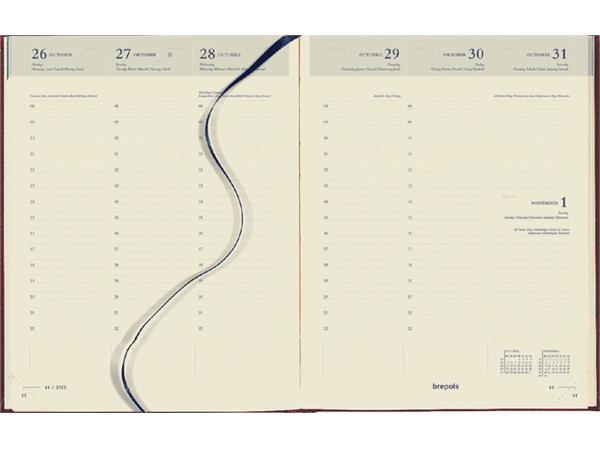 Agenda 2019 Brepols Timing 7dag/2pagina's 6-talig bordeaux