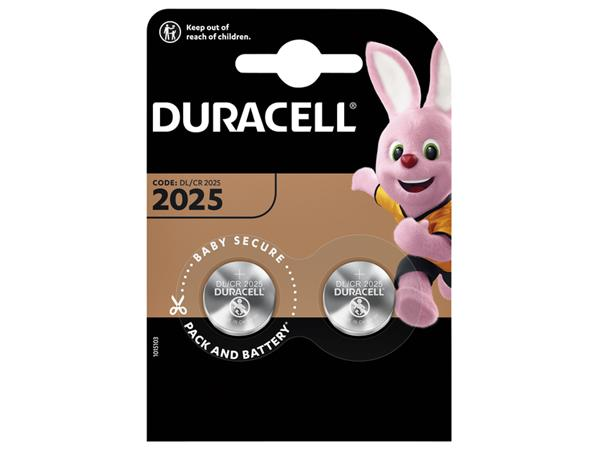 Batterij Duracell knoopcel 2xCR2025 lithium Ø20mm 3V-170mAh