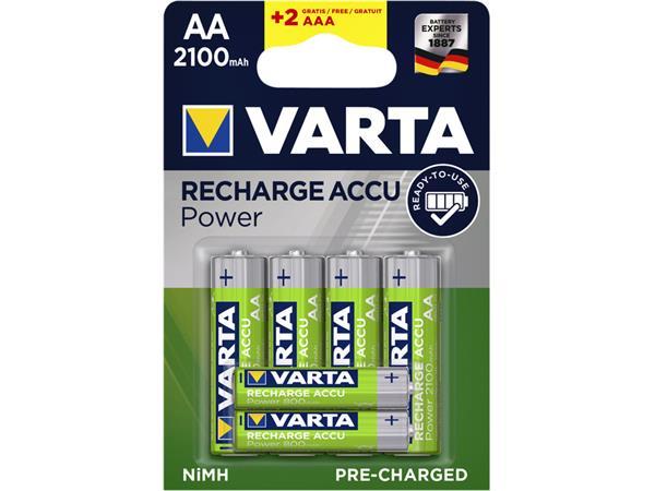 Batterij oplaadbaar Varta ready2use 4xAA 2100mAh