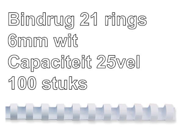 Bindrug GBC 6mm 21rings A4 wit 100stuks