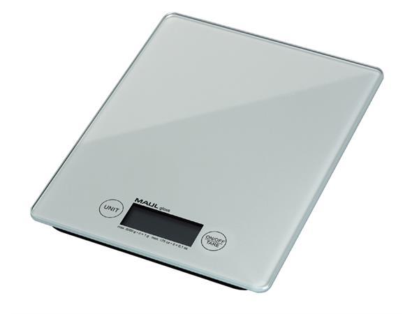 Briefweger MAUL Gloss tot 5000 gram wit glazen plateau incl.batterij