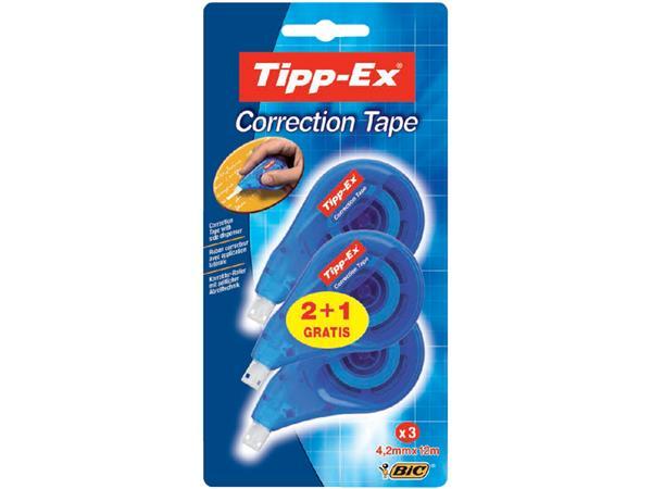 Correctieroller Tipp-ex 4.2mmx12m zijwaarts bllister 2+1 gratis