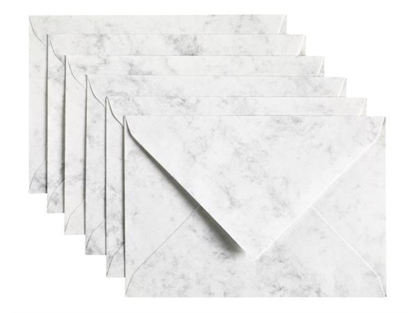 Envelop Papicolor C6 114x162mm Marble grijs