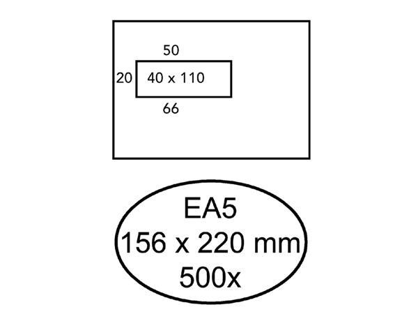 Envelop Hermes EA5 156x220mm venster 4x11links zelfkl 500st