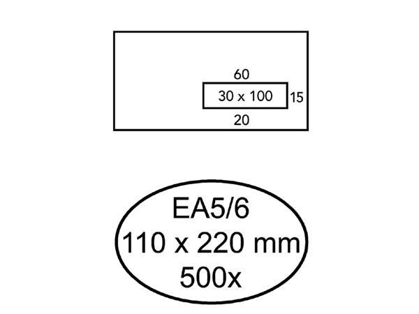 ENVELOP HERMES VENSTER EA5/6 VR 3X10 80GR ZK 500ST