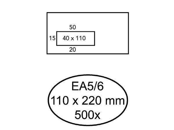 ENVELOP HERMES VENSTER EA5/6 VL V23 4X11 80GR ZK WIT