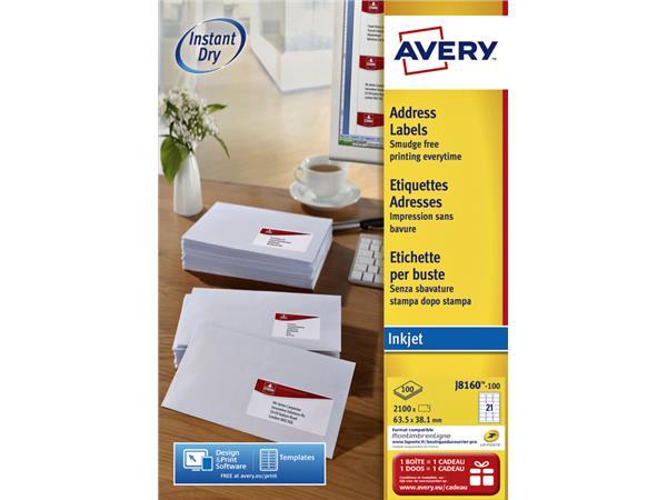 Etiket Avery J8160-100 63.5x38.1mm wit 2100stuks