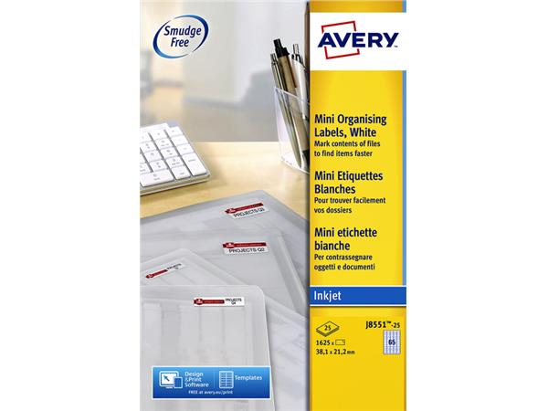 Etiket Avery J8551-25 38.1x21.2mm transparant 1625stuks