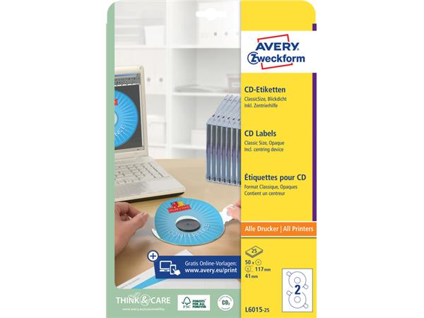 ETIKET AVERY ZWECK CD L6015-25 50ST