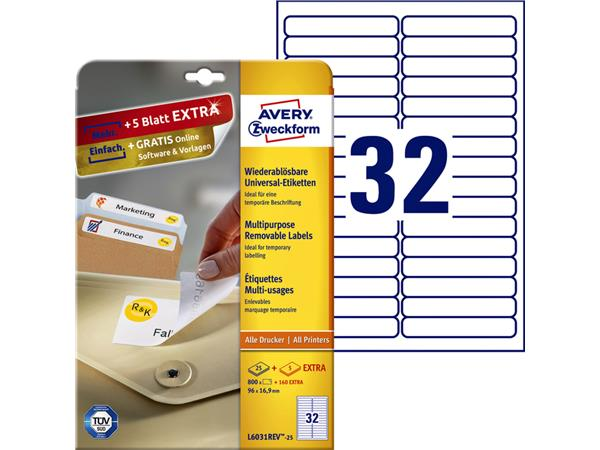 ETIKET AVERY ZWECK L6031REV-25 96X16.9MM 800ST
