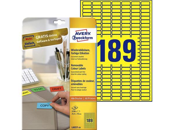 Etiket Avery L6037-20 25.4x10mm geel 3780stuks