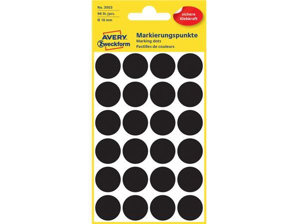 Etiket Avery Zweckform 3003 rond 18mm zwart 96stuks