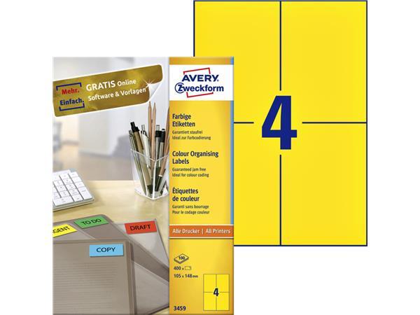 Etiket Avery Zweckform 3459 105x148mm A6 geel 400stuks