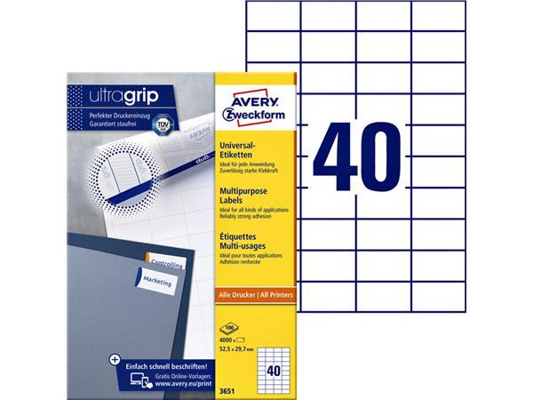 Etiket Avery Zweckform 3651 52.5x29.7mm wit 4000stuks