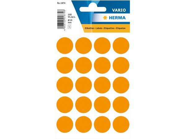 Etiket Herma 1874 rond 19mm fluor oranje 100stuks