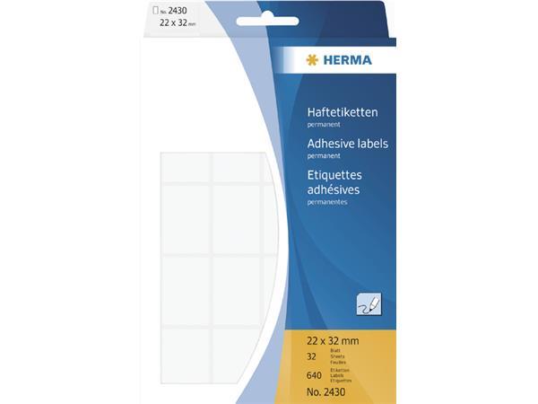 Etiket Herma 2430 22x32mm wit 640stuks