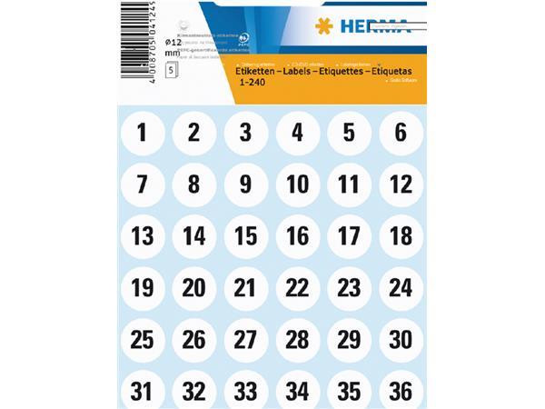 Etiket Herma 4124 12mm getallen 1-240 240stuks