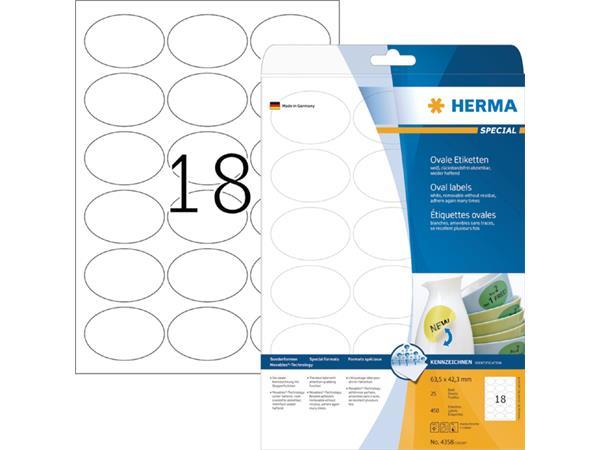 Etiket Herma 4358 63.5x42.3mm verwijderbaar ovaal 450stuks