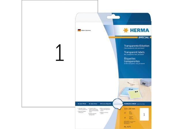 Etiket Herma 4375 210x297mm A4 transparant 25stuks