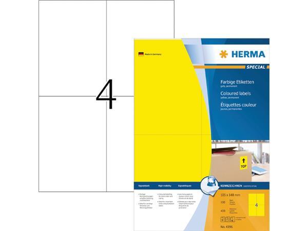 ETIKET HERMA 4396 105X148MM 400ST GEEL