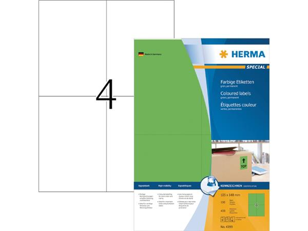 Etiket Herma 4399 105x148mm A6 groen 400stuks