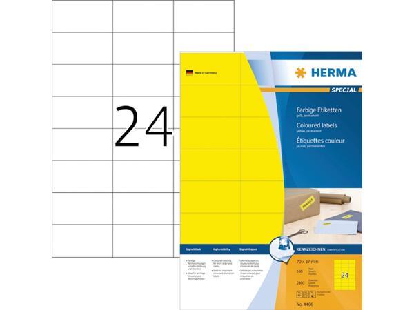 ETIKET HERMA 4406 70X37MM GEEL 2400ST