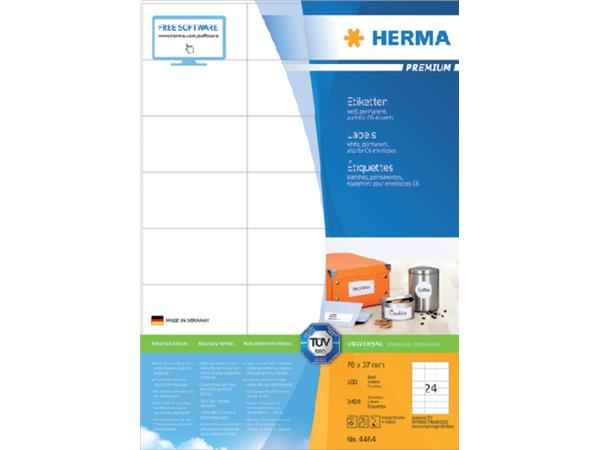 ETIKET HERMA 4464 70X37MM PREMIUM A4 2400ST