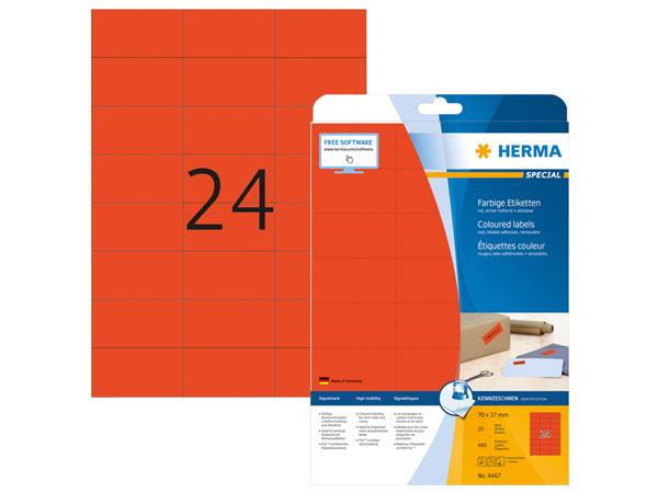 Etiket Herma 4467 70x37mm verwijderbaar rood 480stuks