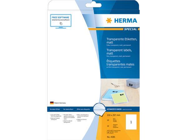 Etiket Herma 4585 210x297mm weerbestendig 10stuks transparant mat