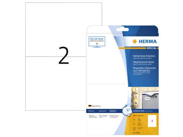 Etiket Herma 4600 210x148mm A4 folie 20st wit