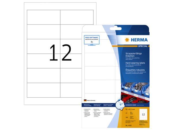 Etiket Herma 4692 97x42.3mm folie 300st wit