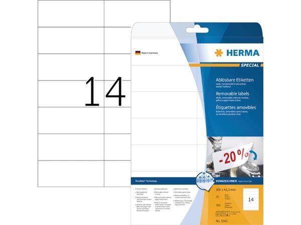 Etiket Herma 5081 105x42.3Mm verwijderbaar wit 350stuks