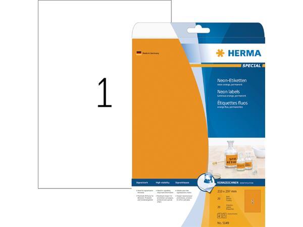 ETIKET HERMA 5149 210X297MM A4 LC 20ST FL ORANJE