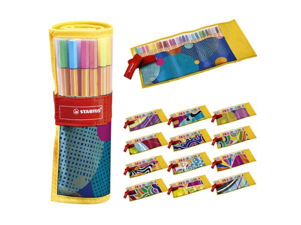 Fineliner STABILO Point 88 Just like you edition roletui geel à 25 kleuren