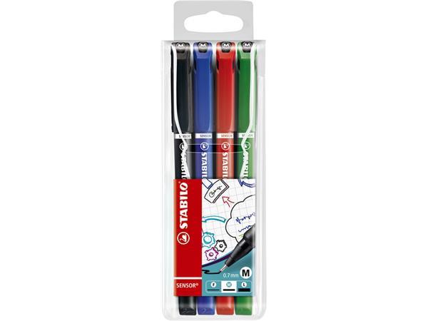 Fineliner STABILO Sensor 187 etui á 4 kleuren