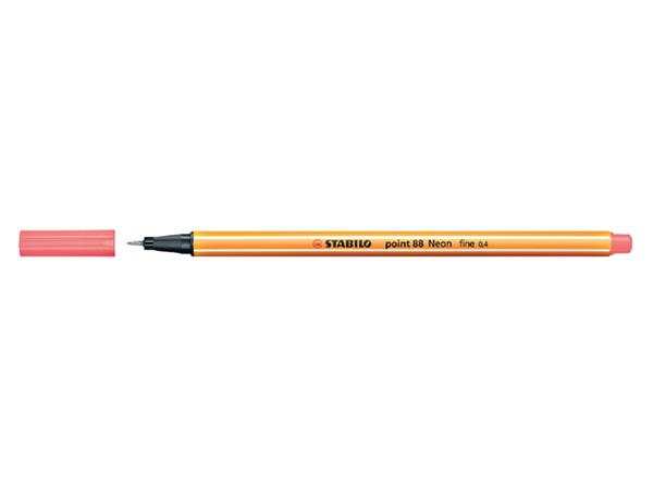 Fineliner Stabilo point 88/040 neon rood